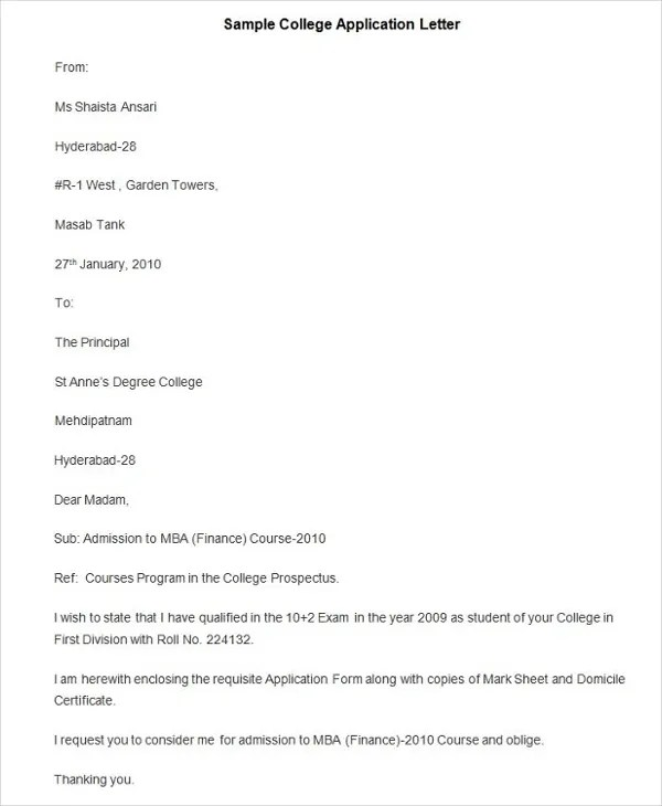 55+ Free Application Letter Templates Free \ Premium Templates - college application letter