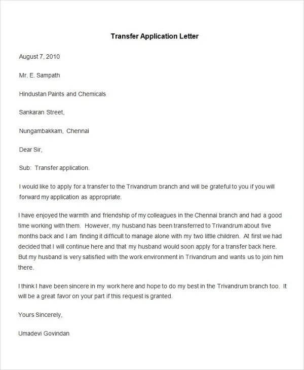 95+ Best Free Application Letter Templates  Samples - PDF, DOC - Application Letter Example