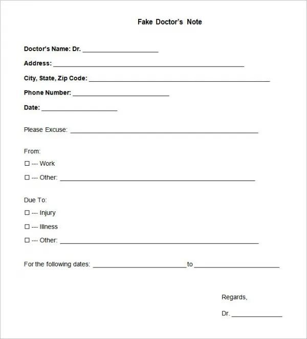 printable dr note