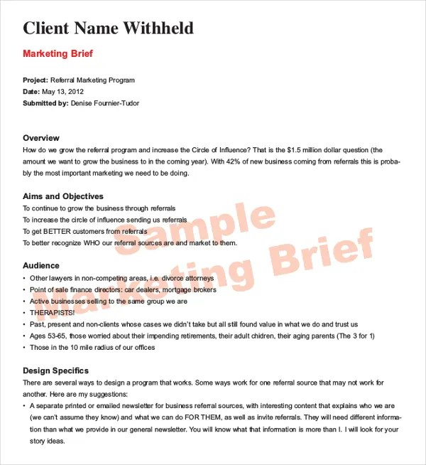 Marketing Brief Template - Free Word, Excel Documents Download - project brief template
