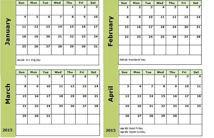 4 month calendar 2015 - Selol-ink