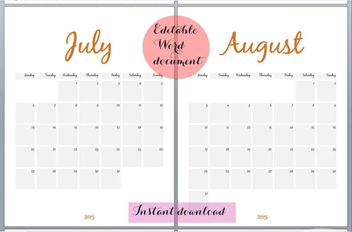 25+ Best Editable Calendar Templates  2015 Designs Free  Premium