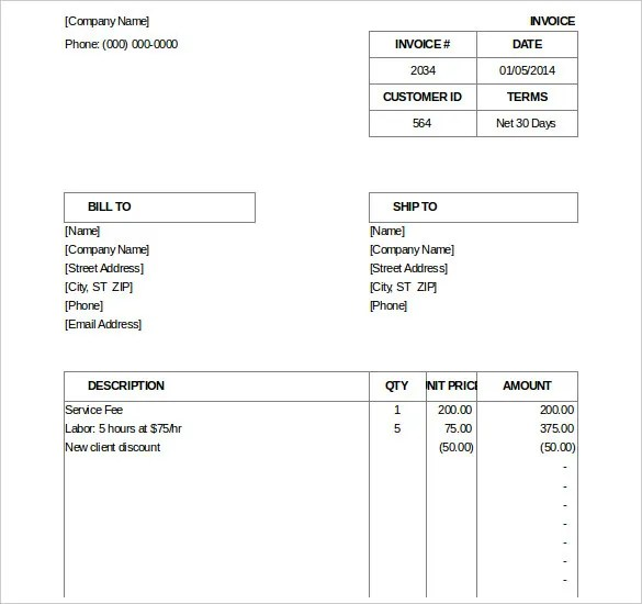 Excel Invoice Template - 31+ Free Excel Documents Download Free