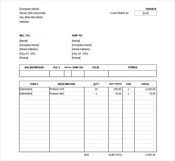Excel Invoice Template - 31+ Free Excel Documents Download Free - sales invoices
