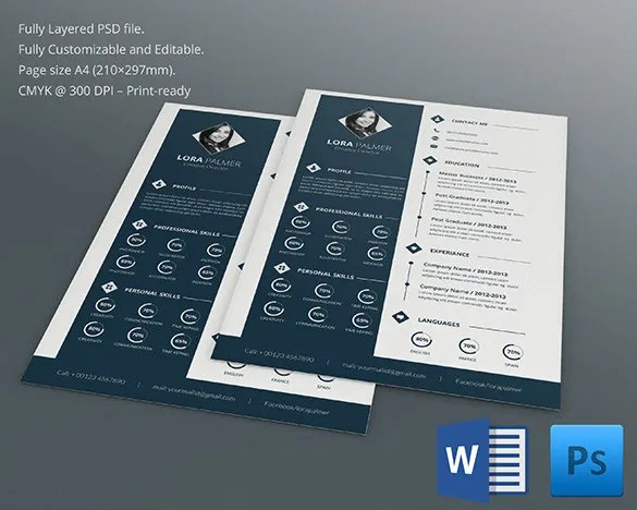 PSD Resume Template u2013 51+ Free Samples, Examples, Format Download - awesome resume template
