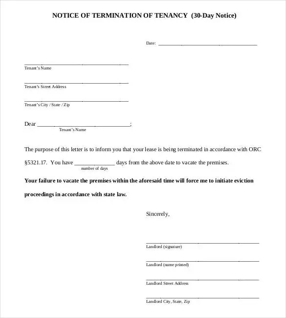 30 day eviction letter - Acurlunamedia - 30 Day Notice Template