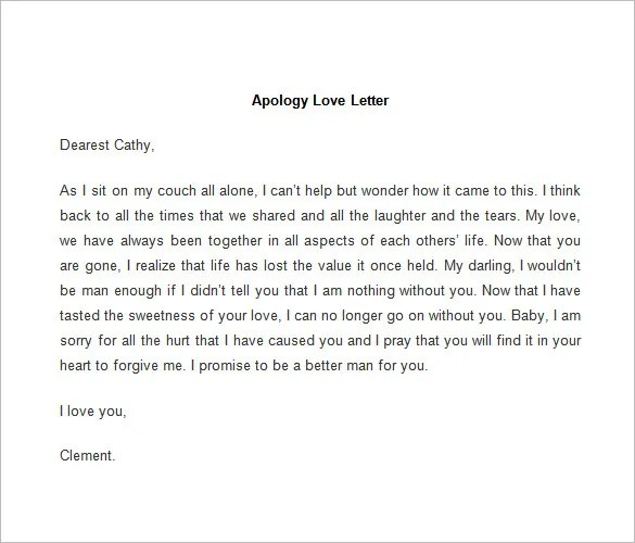 52+ Love Letter Templates u2013 Free Sample, Example Format Download - letter of apology sample