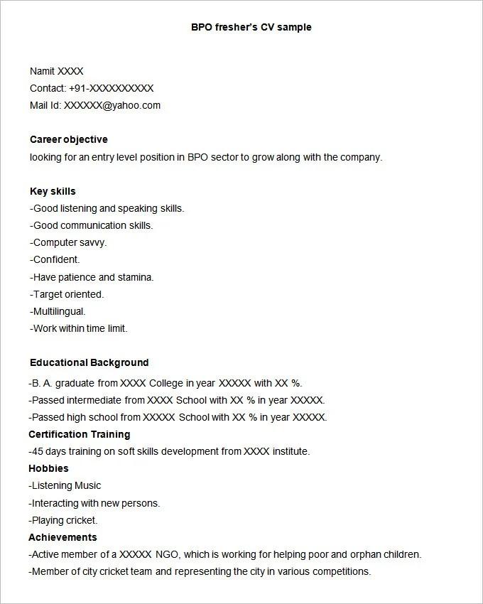 37+ BPO Resume Templates - PDF, DOC Free  Premium Templates