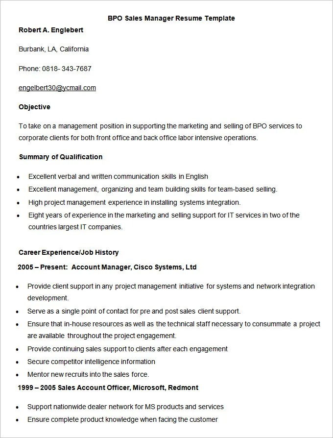 BPO Resume Template u2013 22+ Free Samples, Examples, Format Download - i need a resume template