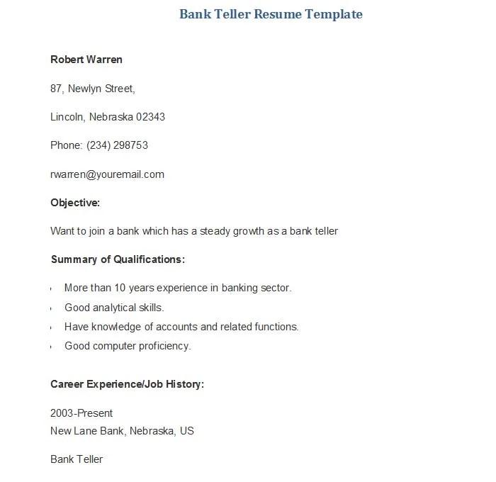 22+ Sample Banking Resume Templates - PDF, DOC Free  Premium