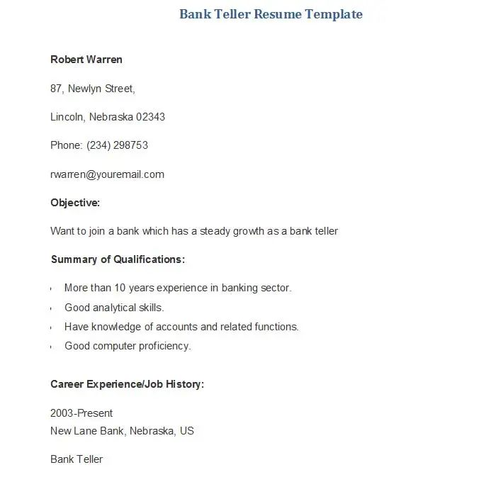 bank teller resume templates and