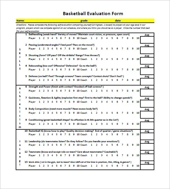 12+ Free Basketball Evaluation Forms Free \ Premium Templates - coach feedback form