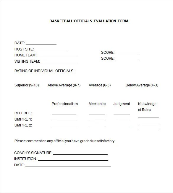 12+ Free Basketball Evaluation Forms Free  Premium Templates - coach feedback form