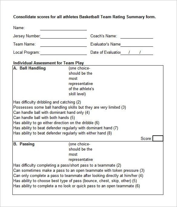 Basketball Evaluation Form Basketball Stat Sheet Excel Full Size Of