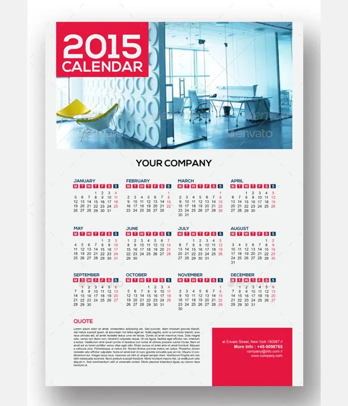 40+ Sample 2015 Calendar Templates  Designs Free Free  Premium