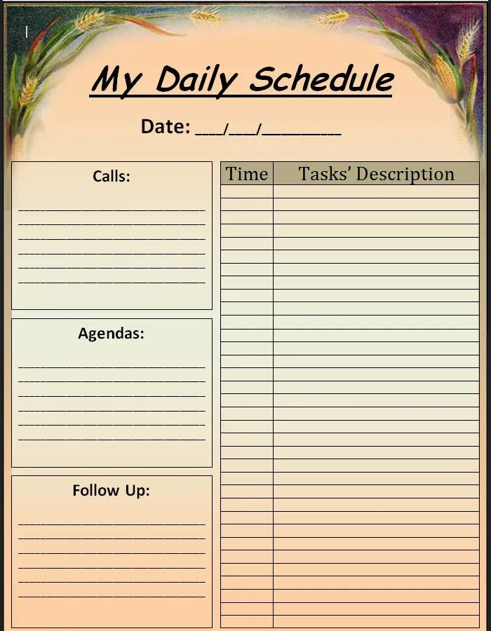 daily calendar blank