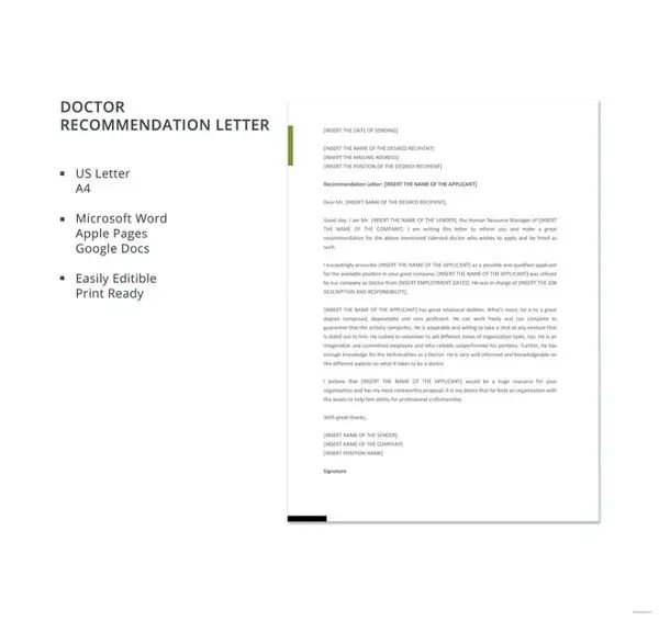 recommendation letter for doctor