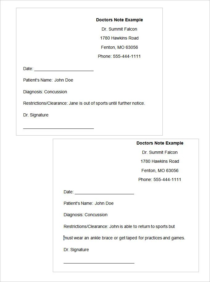 Doctors Note Template Free Doctors Note For Work All Form Templates