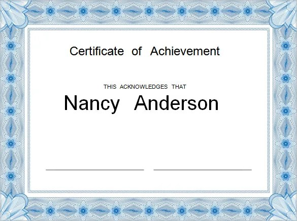 Free Customizable Printable Certificates Of Achievement Template – Free Customizable Printable Certificates of Achievement