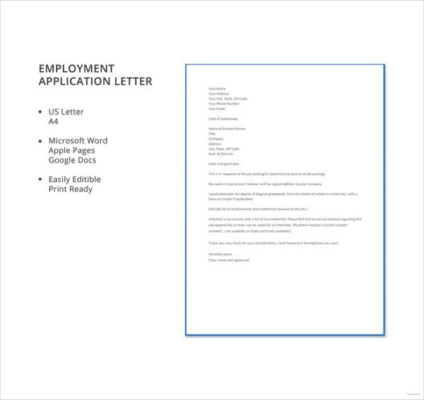 95+ Best Free Application Letter Templates  Samples - PDF, DOC