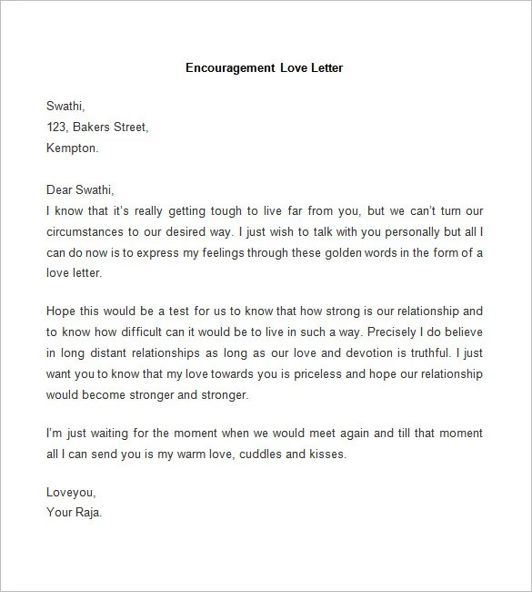52+ Love Letter Templates u2013 Free Sample, Example Format Download - encouragement letter template
