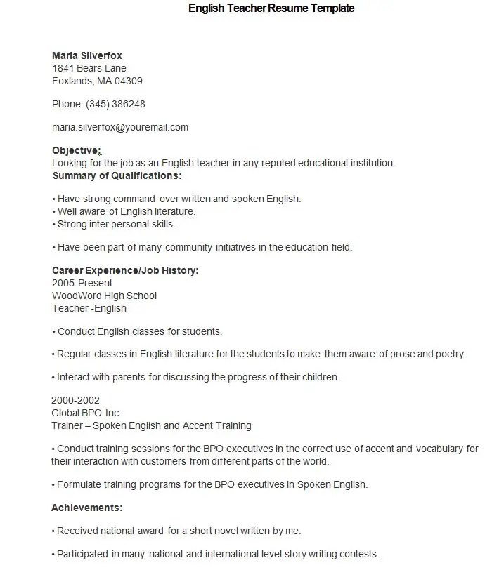 50+ Teacher Resume Templates - PDF, DOC Free  Premium Templates - english teacher resume samples