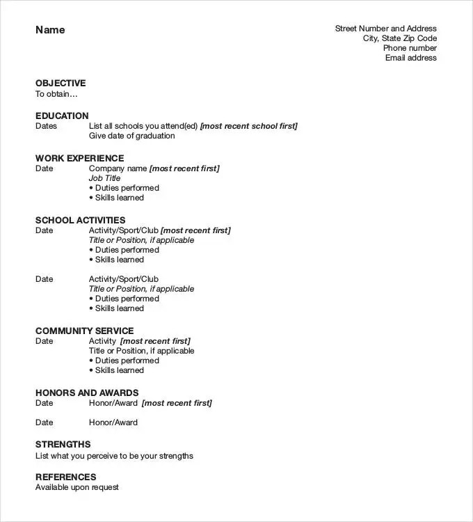 Manager Resume Format Download | Sample Resume Format For Ojt