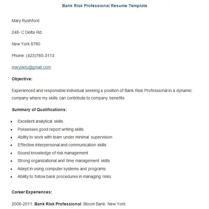 22+ Sample Banking Resume Templates - PDF, DOC Free  Premium - job resume templates free
