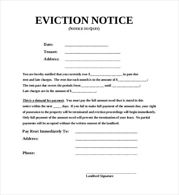 eviction notice template - Goalgoodwinmetals - eviction notice template word