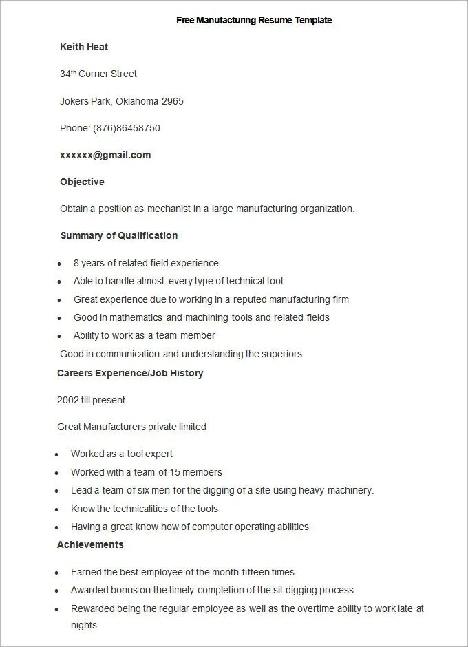 free sample resume templates for production