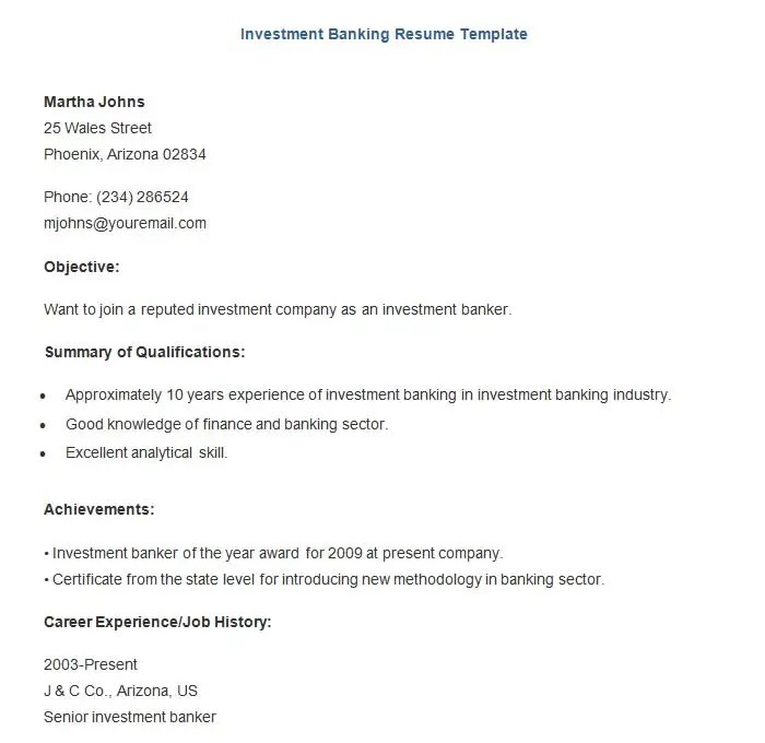 22+ Sample Banking Resume Templates - PDF, DOC Free  Premium