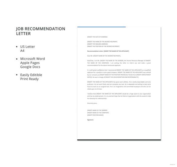 30+ Recommendation Letter Templates - PDF, DOC Free  Premium - sample recommendation letter format