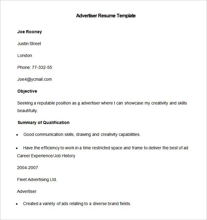 Media Resume Template \u2013 31+ Free Samples, Examples, Format Download - point of contact template