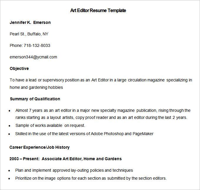 Media Resume Template \u2013 31+ Free Samples, Examples, Format Download - resume editor