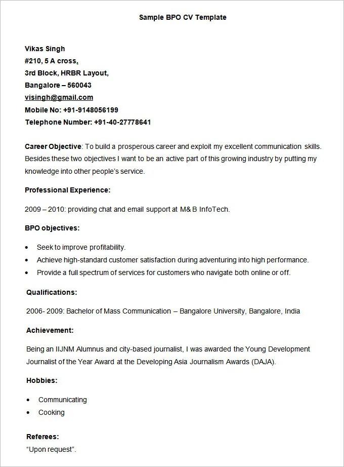 BPO Resume Templates - 37+ Free Samples, Examples, Format Download - model resume example