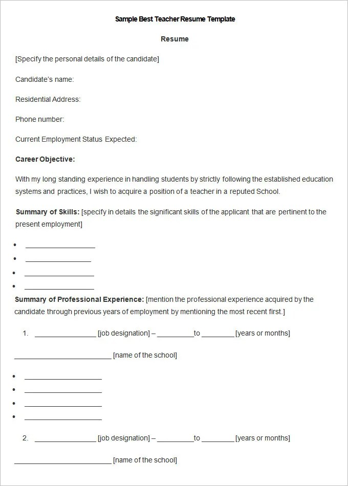 51+ Teacher Resume Templates u2013 Free Sample, Example Format - resume examples for professional jobs
