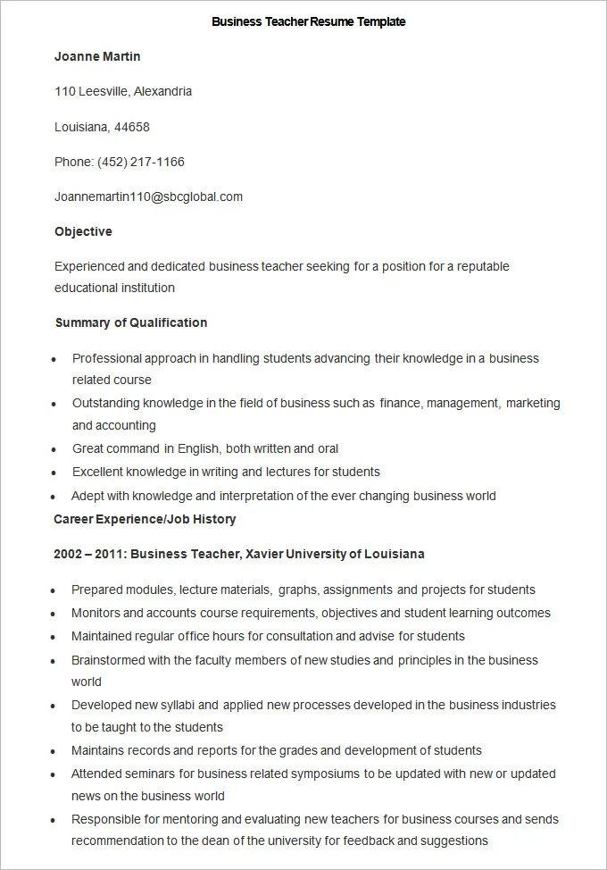 free sample resume for teachers with experience