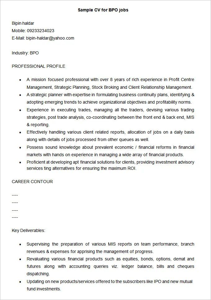 job centre sample of cv