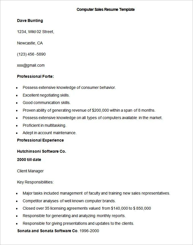 sample resume format for sales person