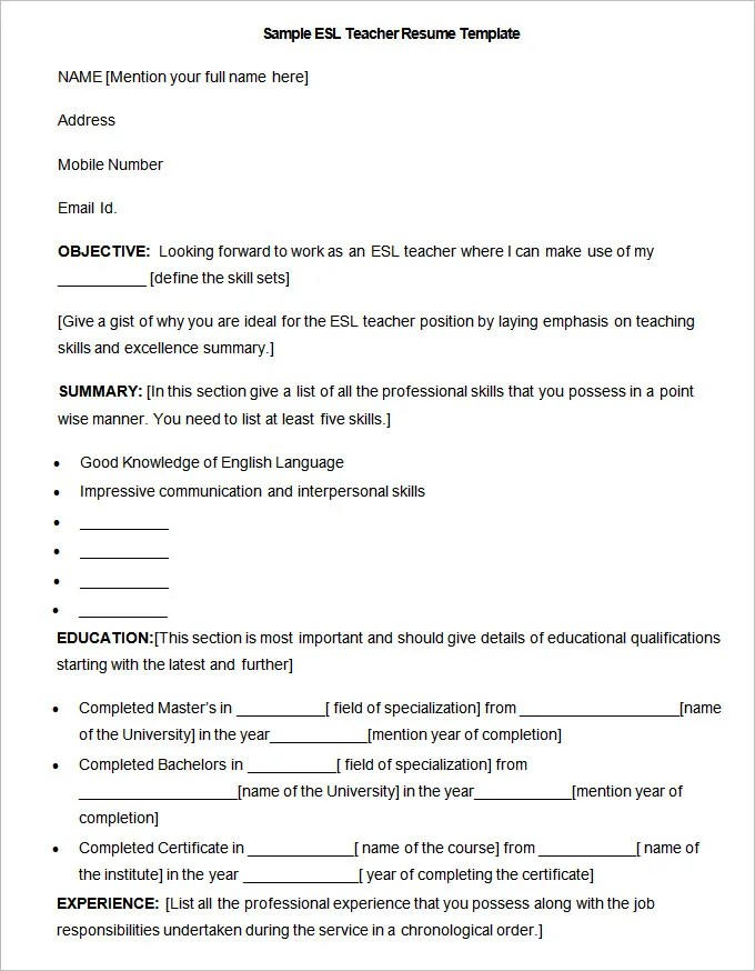 Teacher Resume Examples 2016 For Elementary School Resume Templates – 127 Free Samples Examples And Format