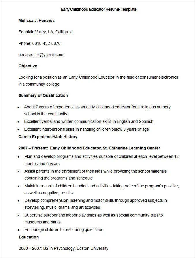 Teacher Librarian Resume Template  How To Format A Boeing Resume