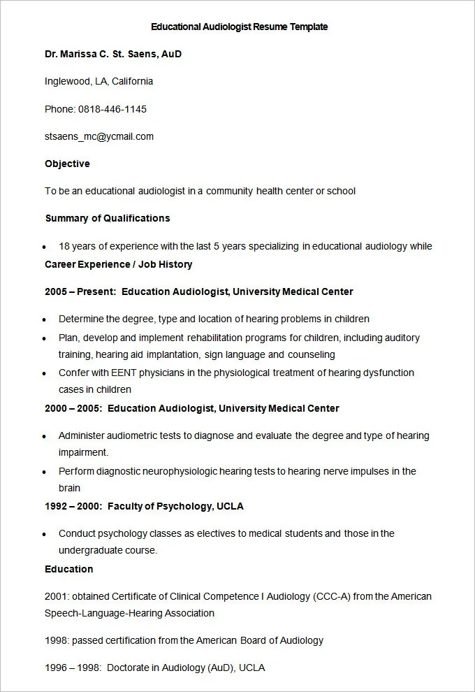 51+ Teacher Resume Templates u2013 Free Sample, Example Format - psychology resume template