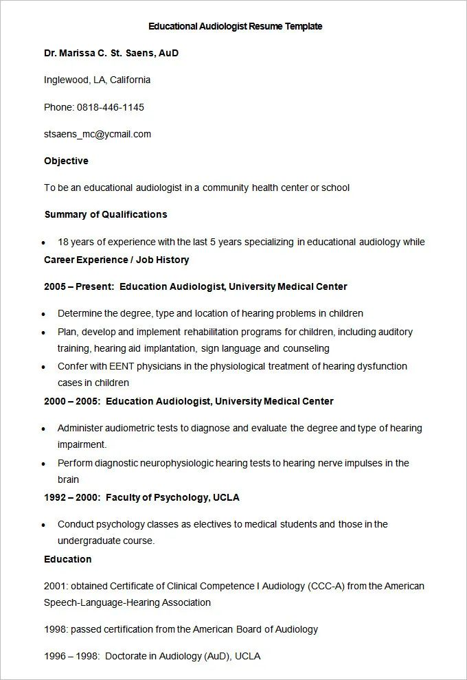 resume template for college instructor