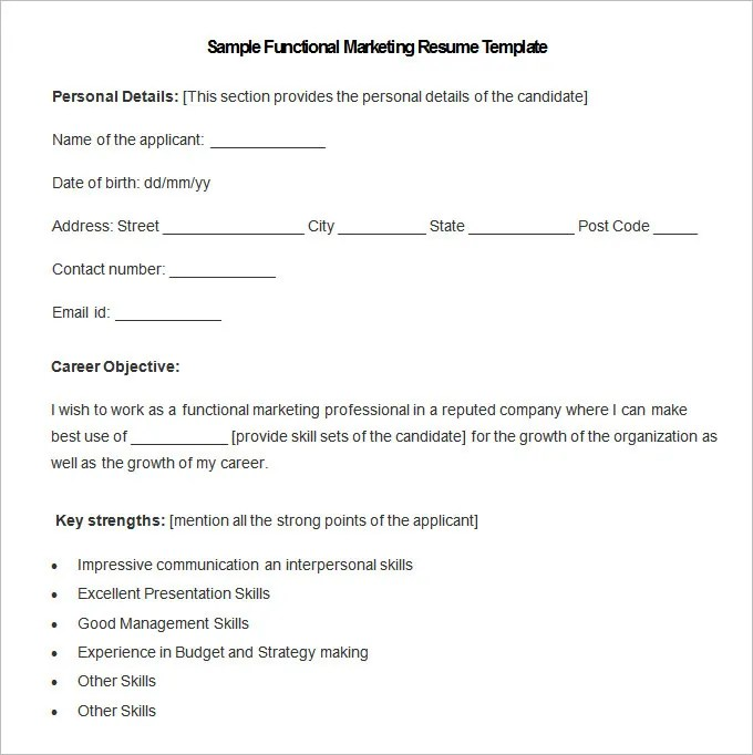 Marketing Resume Template \u2013 37+ Free Samples, Examples, Format
