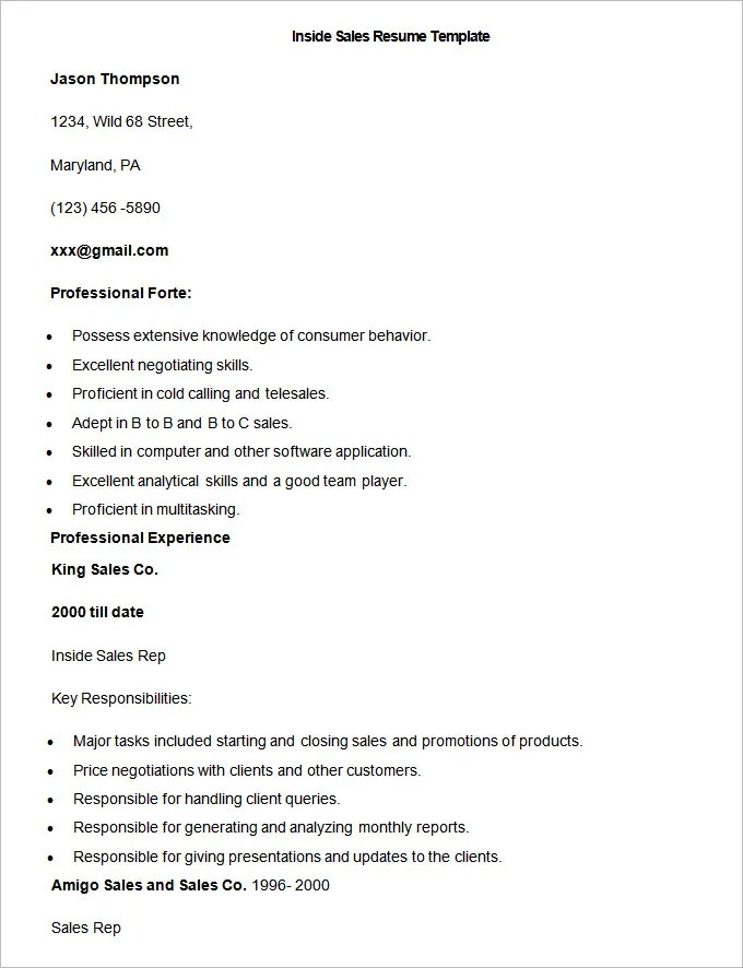 Sales Resume Template  2013 41+ Free Samples, Examples, Format Download - inside sales representative resume sample