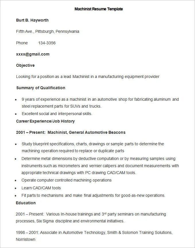 Manufacturing Resume Template \u2013 26+ Free Samples, Examples, Format - Sample Resume For Machinist