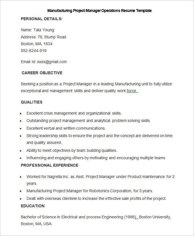 Manufacturing Resume Template \u2013 26+ Free Samples, Examples, Format - fabrication manager sample resume