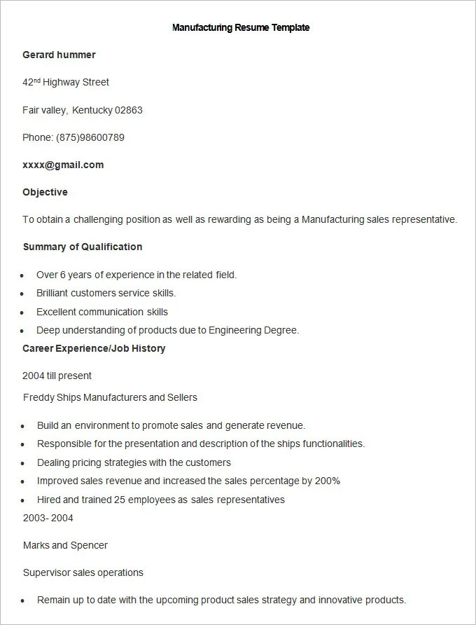 sample resume manufacturing - Onwebioinnovate - sample resume manufacturing