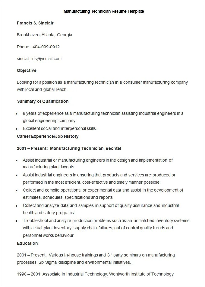 Manufacturing Resume Template \u2013 26+ Free Samples, Examples, Format - Sample Engineering Technology Resume