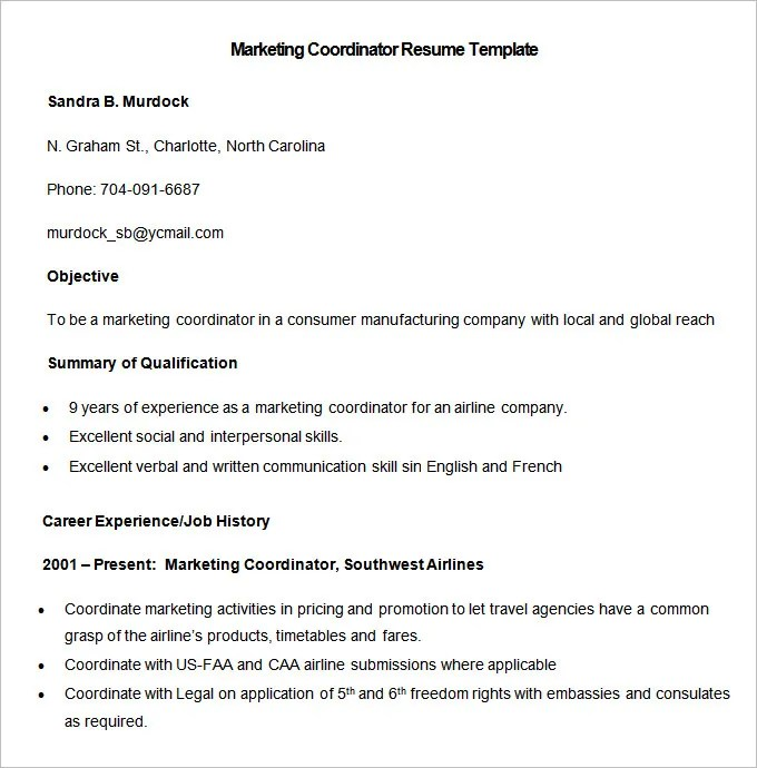 Marketing Resume Template \u2013 37+ Free Samples, Examples, Format